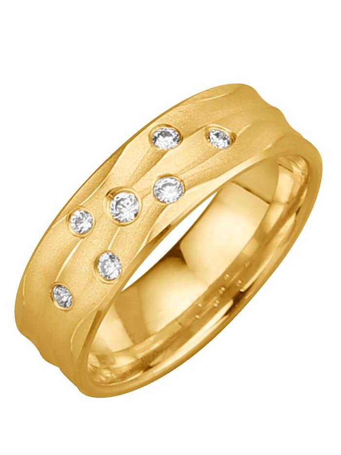 Harmony Trouwring met 7 diamanten, Geel