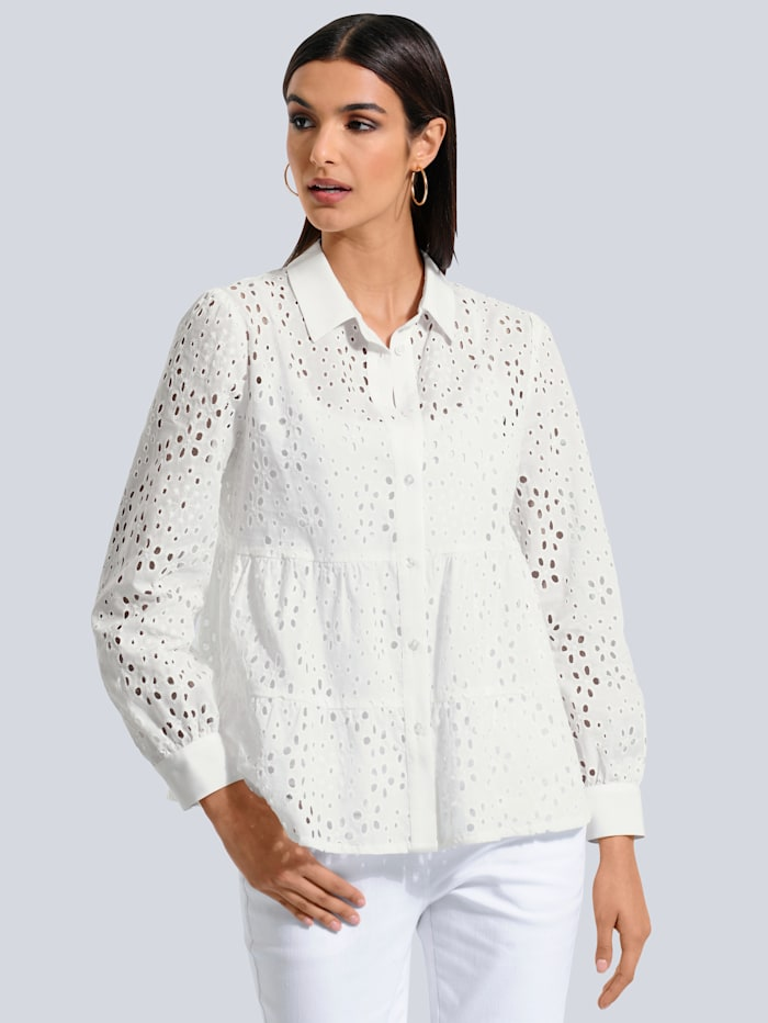 Alba Moda Bluse allover aus filigraner Lochstickerei, Off-white