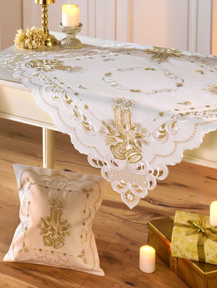 """Webschatz Linge de table """"bougie dorée"""", Champagne/doré"""