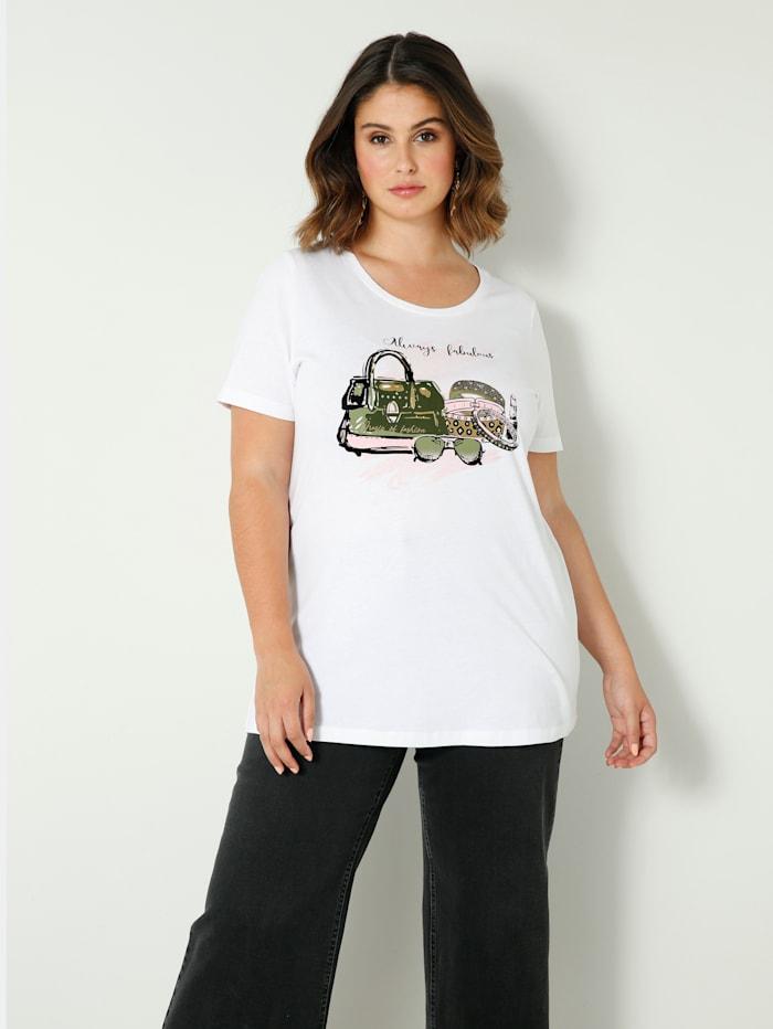 Sara Lindholm Shirt mit Dekosteinchen, Weiß