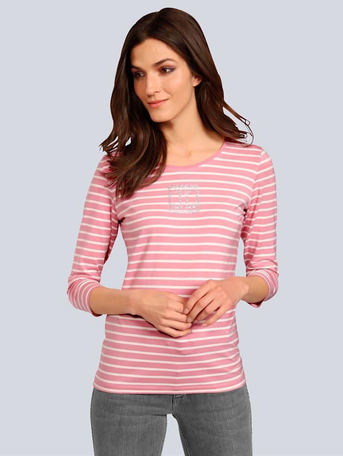 JETTE JOOP T-Shirt im modischen Streifendessin, Rosé/Off-white