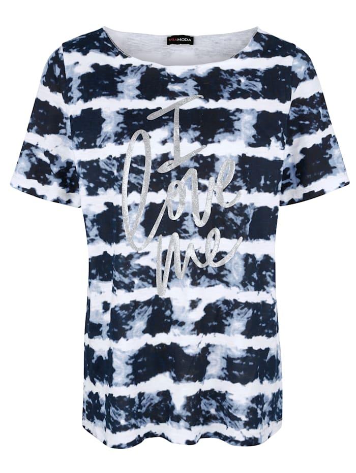 MIAMODA T-shirt à effet batik, Marine