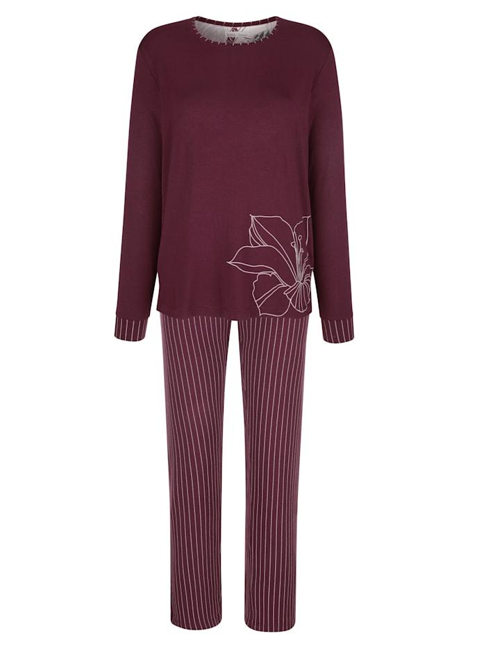 MONA Schlafanzug mit platziertem Druck auf dem Oberteil, Bordeaux/Ecru