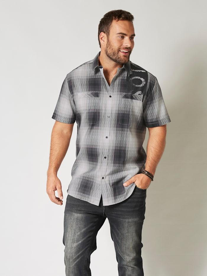 Men Plus Kurzarmhemd mit zwei Brusttaschen, Schwarz/Weiß
