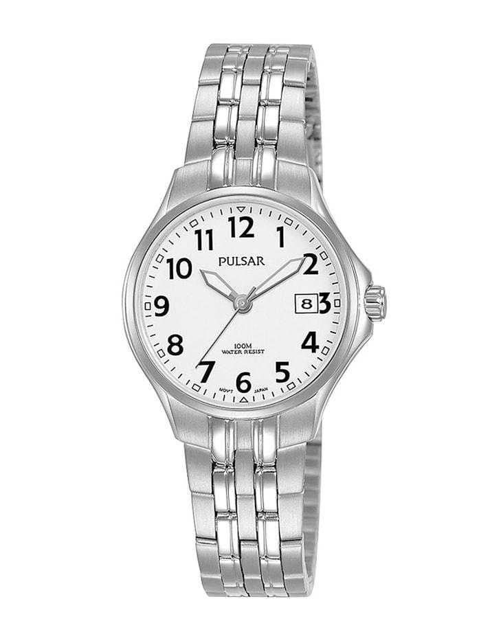 Pulsar Damen-Armbanduhr Quarz mit Stahlband, Weiß