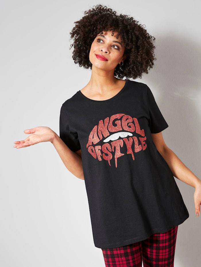 Angel of Style Shirt mit Glitzer-Frontprint, Schwarz