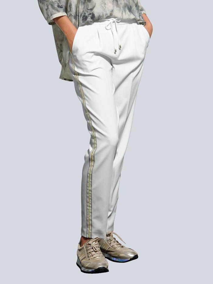 Alba Moda Jogpants mit Galonstreifen, Off-white/Goldfarben