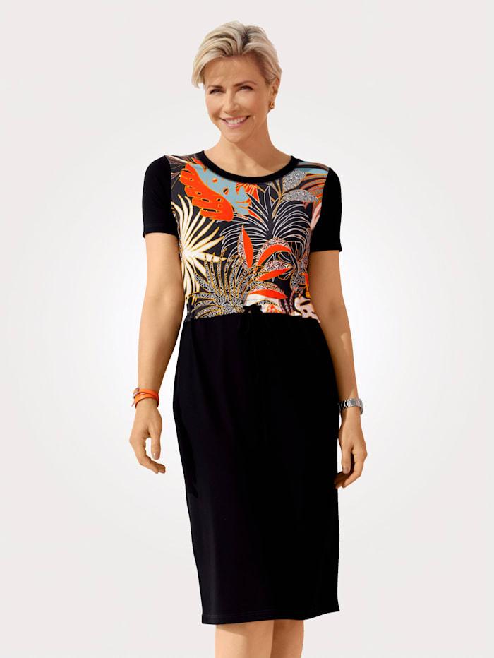 MONA Kleid mit platziertem Druck, Orange/Schwarz/Türkis