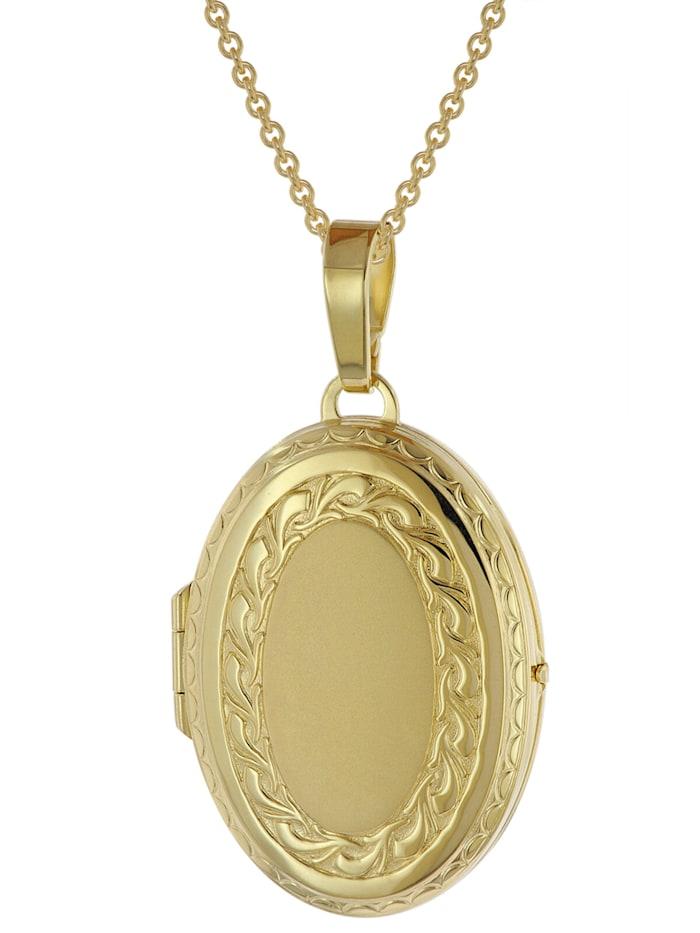 trendor Medaillon mit Halskette Gold plattiertes 925 Silber, Goldfarben