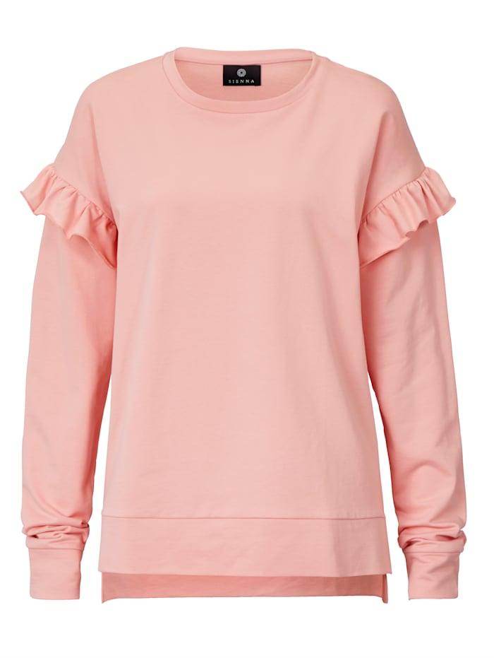 SIENNA Sweatshirt mit Rüschen am Ärmelansatz, Rosé