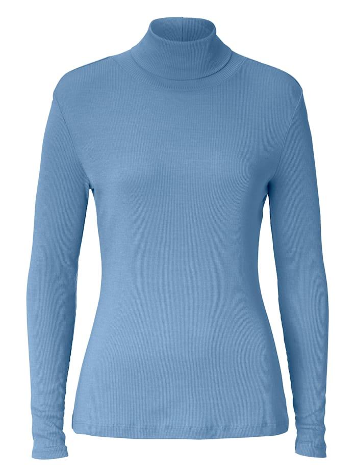 SIENNA Rollkragen-Shirt aus Rippe, Blau