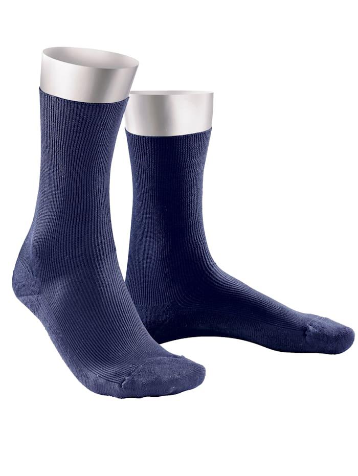 Weissbach Komfort-Socken ohne einschneidenden Gummibund, Marineblau