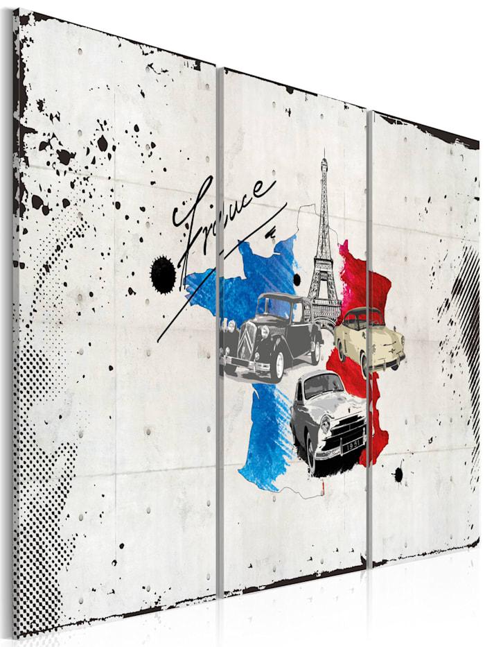 artgeist Wandbild Französischer Reisender - Triptychon, Blau,Grau,Rot,Weiß