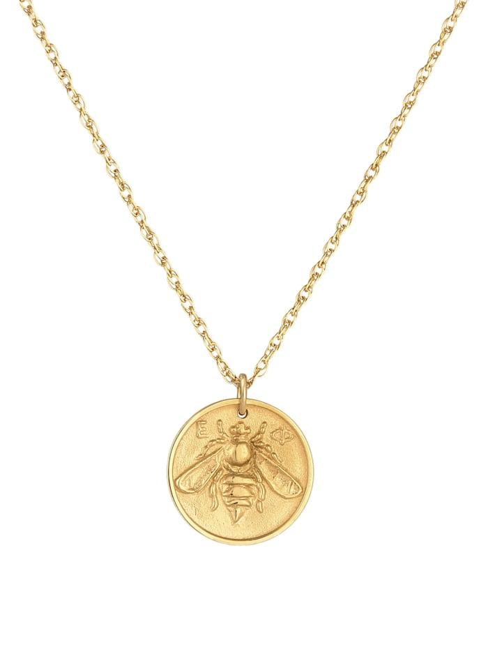 Halskette Münze Antik Coin Biene 925 Silber Vergoldet