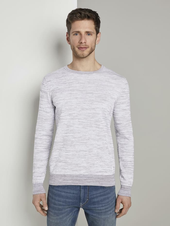 Tom Tailor Melierter Strickpullover, white grey mouline