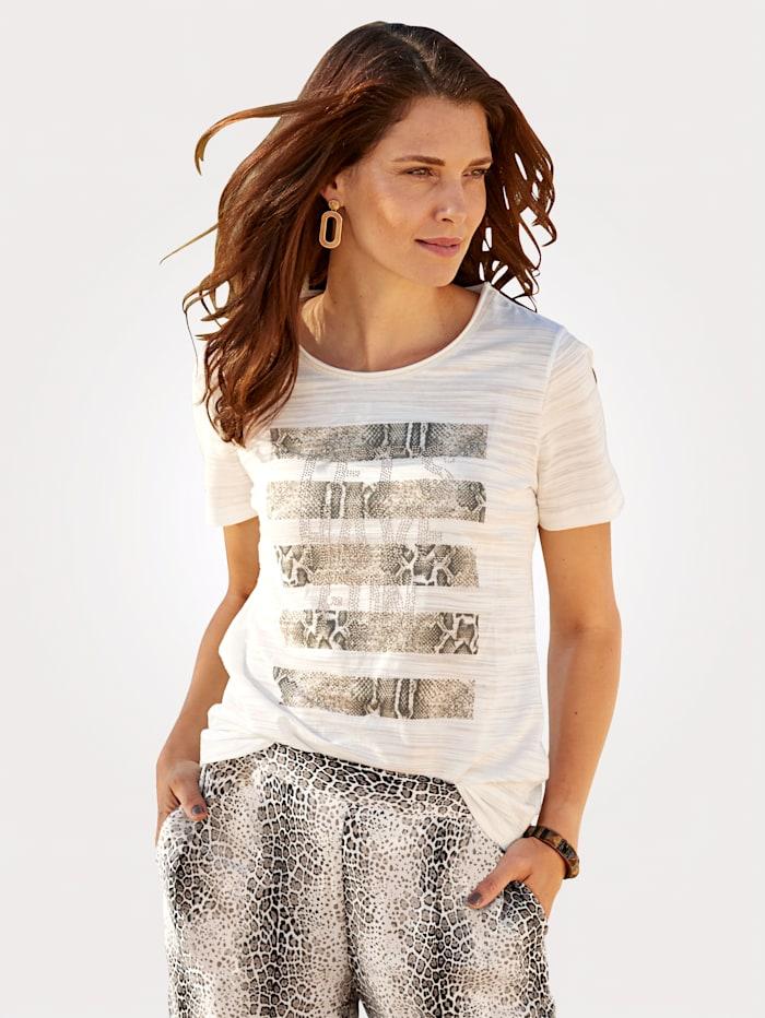MONA T-shirt en jersey dévoré haut de gamme, Écru/Beige/Anthracite