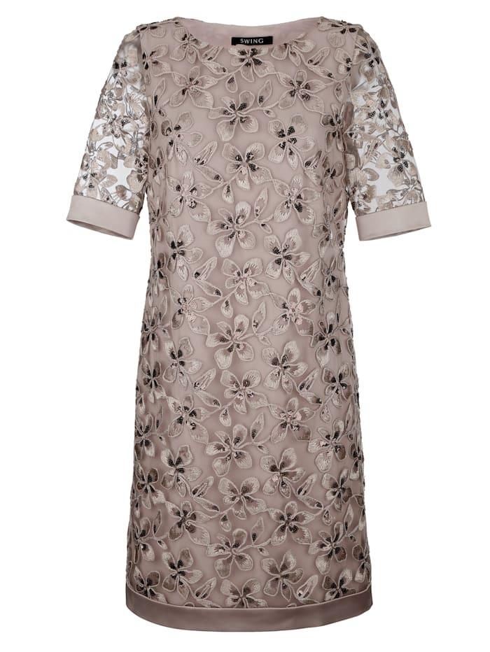 Alba Moda Kleid mit wunderschönen Blüten bestickt, Taupe