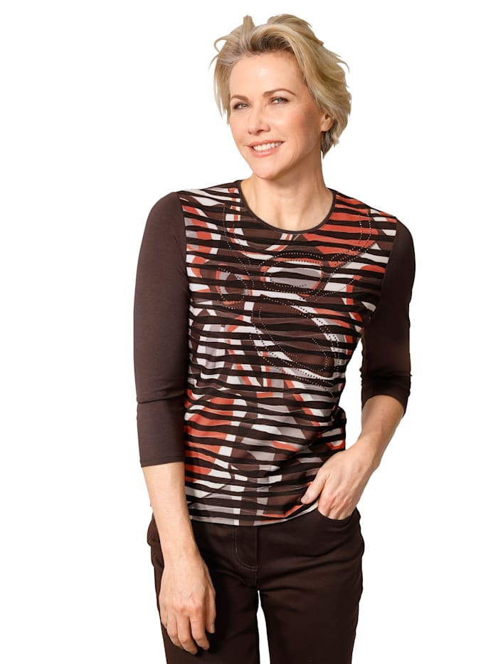 Barbara Lebek Top made from jersey, Terracotta/Brown
