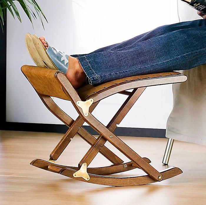 Reposoir-bascule de luxe pour les jambes, marron