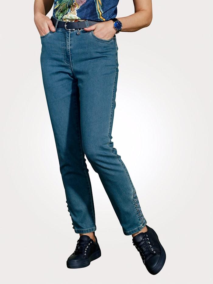 MONA Jean avec détail fantaisie au bas de jambes, Bleu ciel