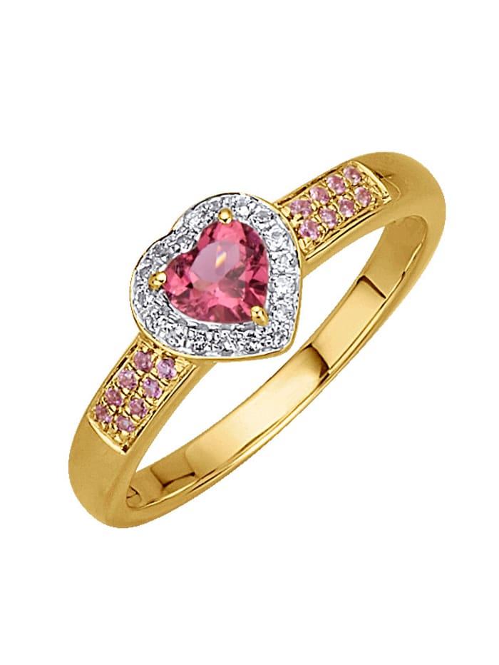 Herz-Ring mit Rubellit, Pink