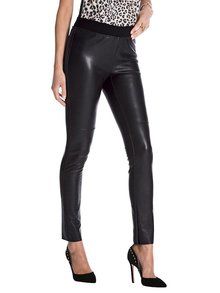 AMY VERMONT Legging en cuir synthétique à taille extensible, Noir