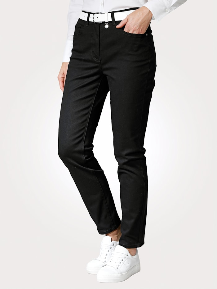 MONA Pantalon avec ceinture partiellement extensible en grandes tailles, Noir