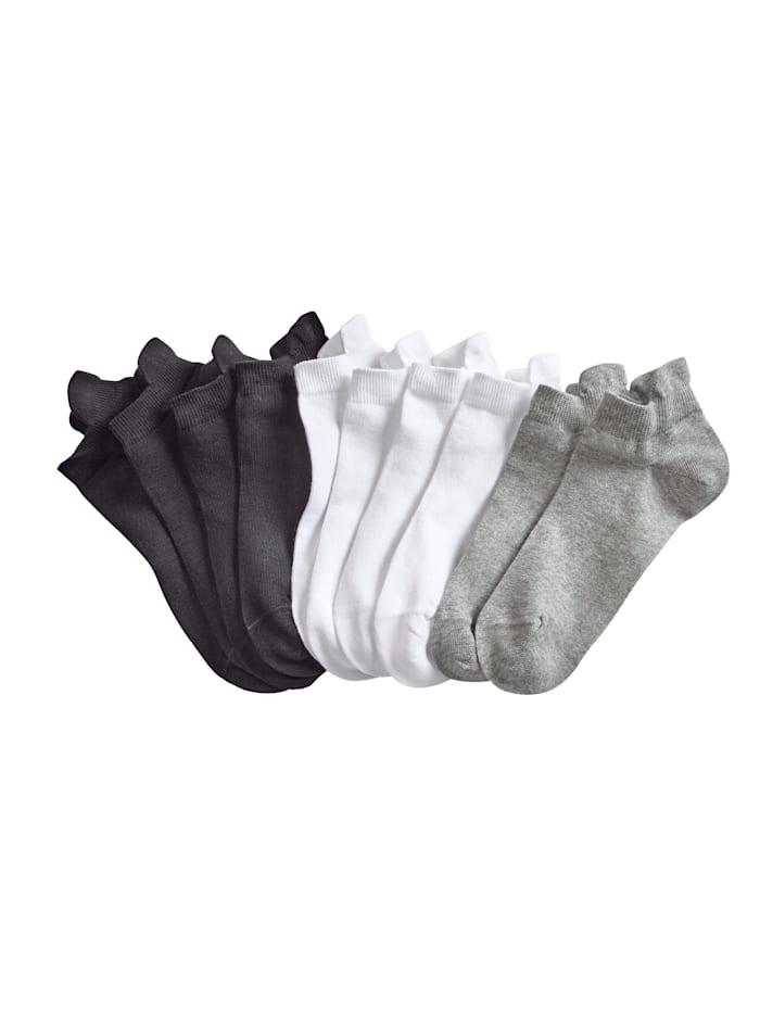 Blue Moon Matalavartiset sukat, 10/pakkaus, Musta/Valkoinen/Harmaa