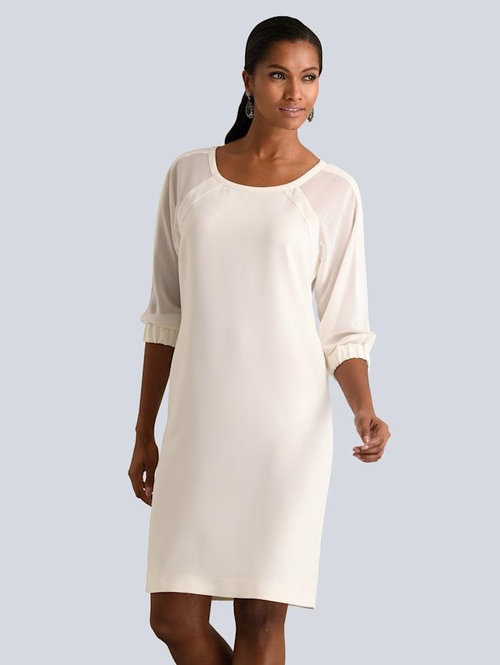 Alba Moda Kleid mit transparenten Chiffon-Ärmeln, Off-white
