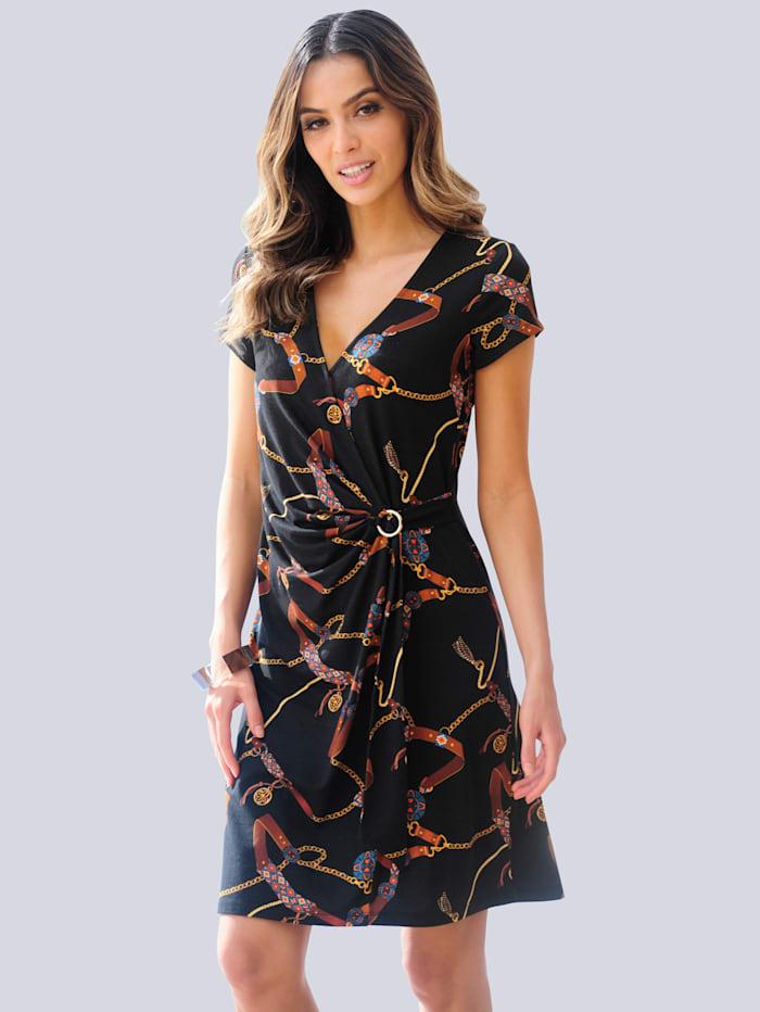 Alba Moda Strandkleid mit Kettendruck, Schwarz