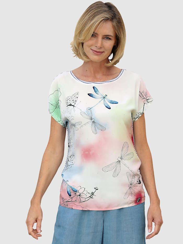 Dress In Shirt im Materialmixqualität, Weiß