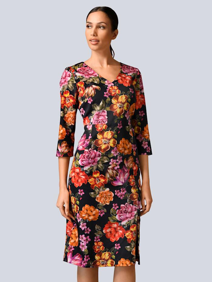 Alba Moda Kleid aus edler Baumwoll-Stretch Ware, Schwarz/Orange