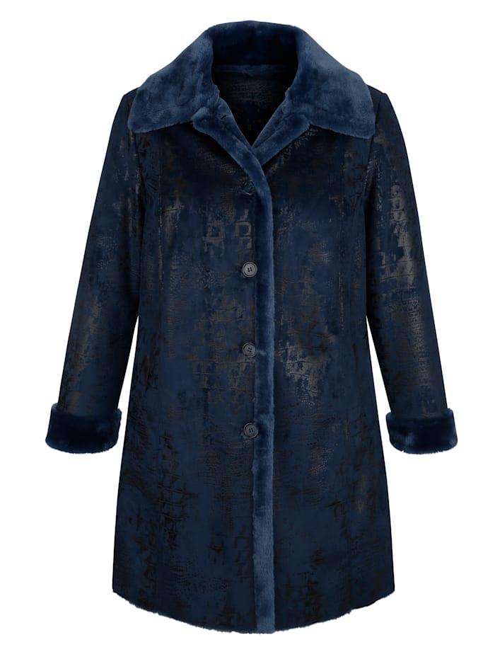 m. collection Kabát z imitácie kože vnútri s mäkkou imitáciou kožušiny, Námornícka