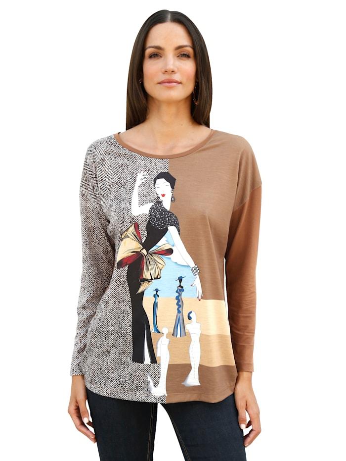 AMY VERMONT Shirt mit Druck im Vorderteil, Camel