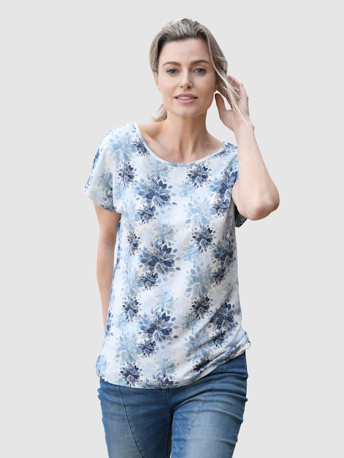 Dress In Shirt mit Floralemdruck, Weiß