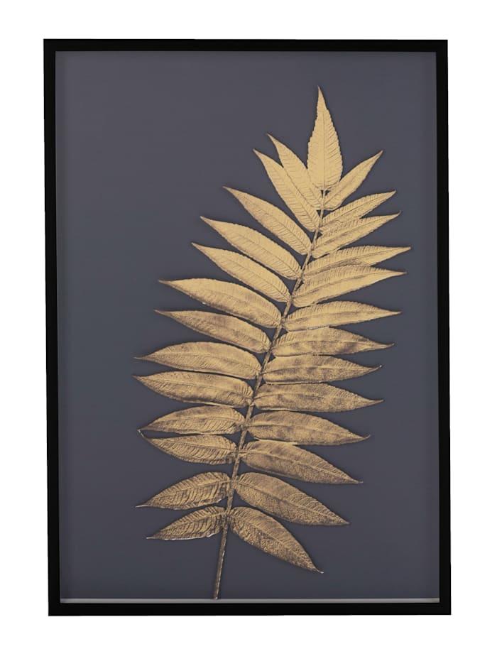 IMPRESSIONEN living Bild, floral, 3D-Optik, dunkelgrau/goldfarben