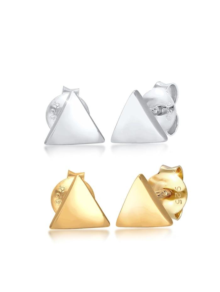 Elli Ohrringe 2Er Set Dreieck Geo Bicolor Minimal 925 Silber, Gold
