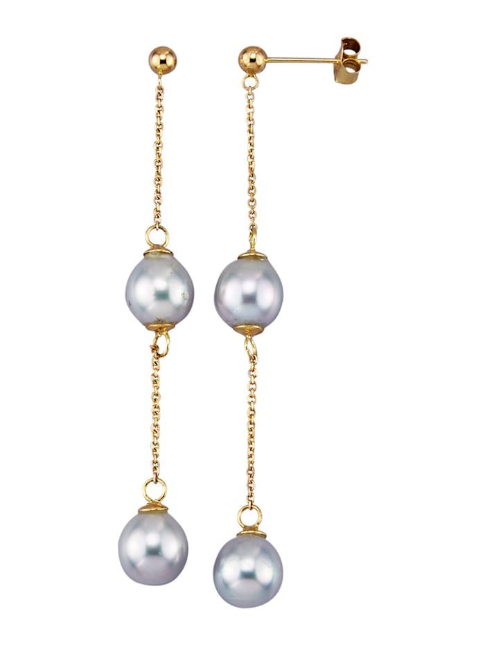 Diemer Perle Ohrringe mit Akoya-Zuchtperlen, Grau