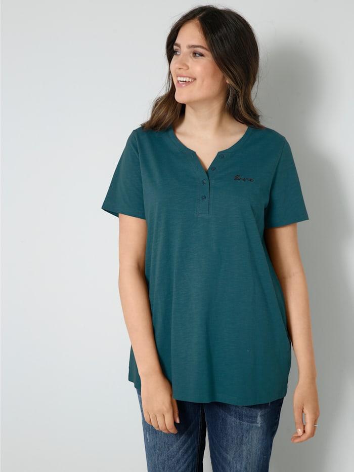 Janet & Joyce Shirt mit kleiner Schriftzug-Stickerei, Smaragd