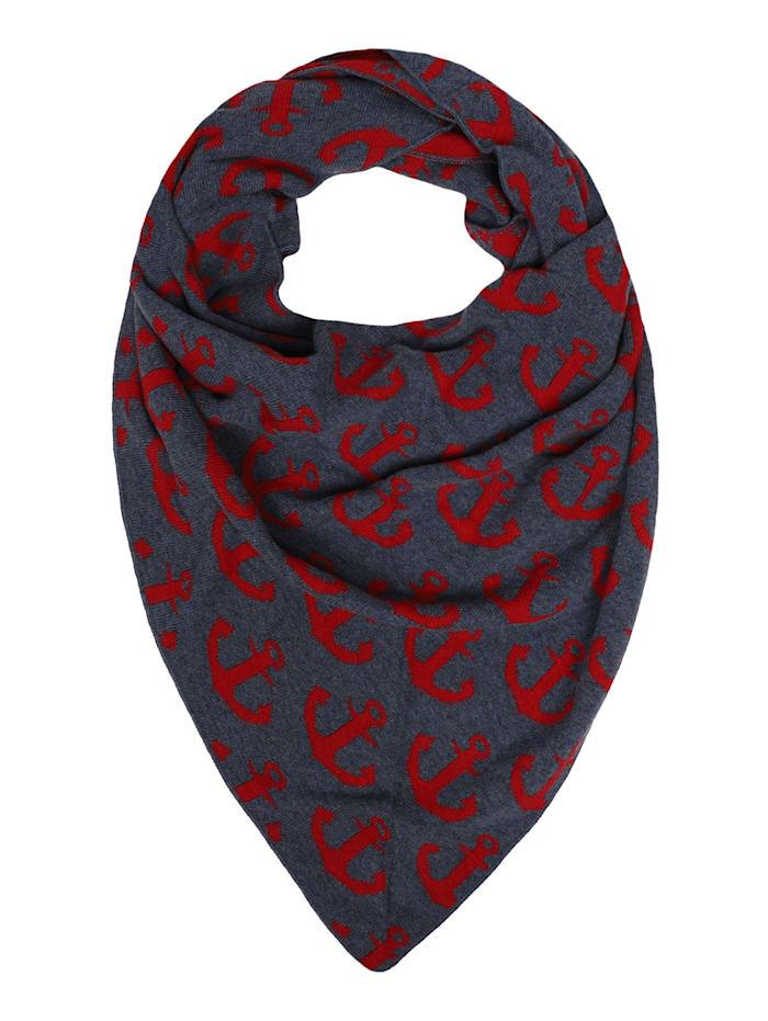Zwillingsherz Dreieckstuch Anker mit Kaschmir, jeansblau rot