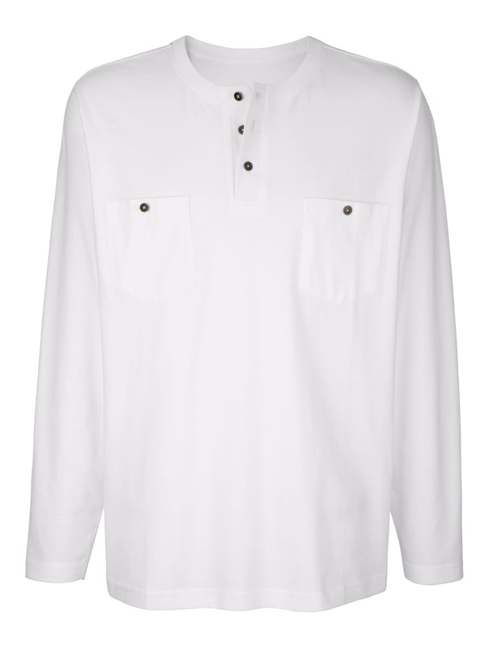 Roger Kent Langarmshirt mit Knopfleiste, Weiß