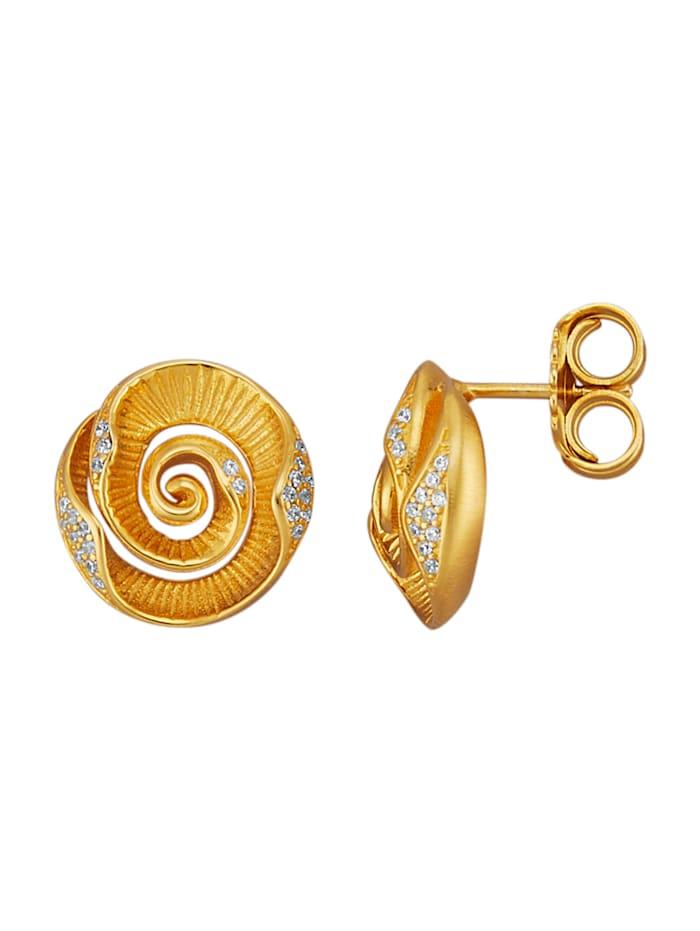 Diemer Trend Rosen-Ohrstecker in Silber 925, vergoldet, Gelbgoldfarben