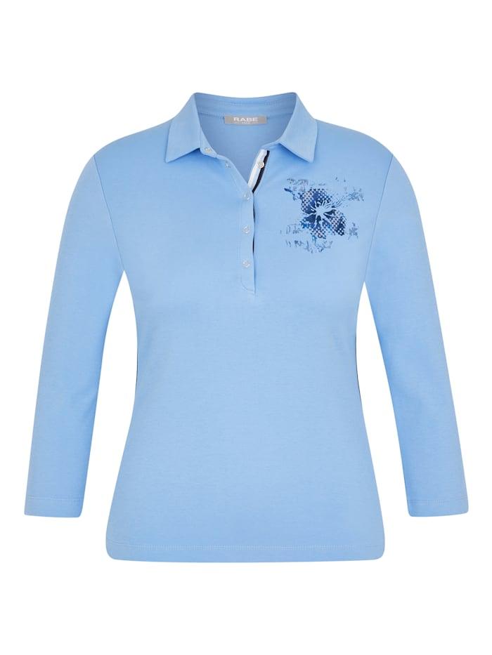 Rabe Shirt mit unifarbenem Stoff und Blumenprint, EISBLAU