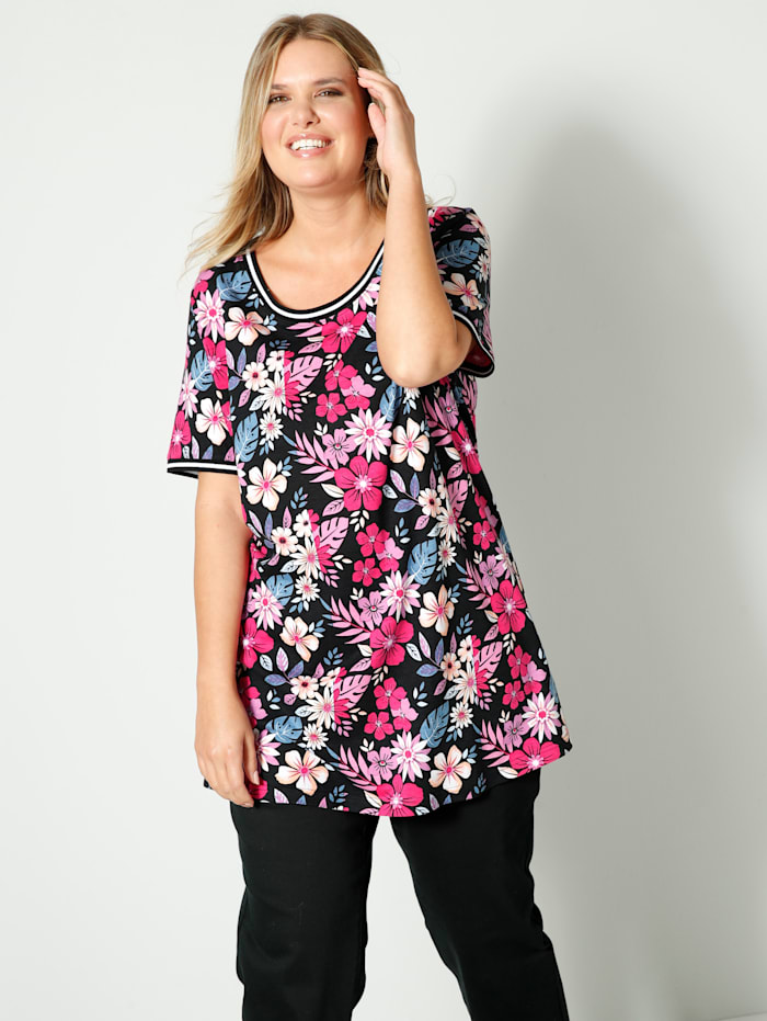 Janet & Joyce Shirt mit Strickbündchen an Ausschnitt und Ärmeln, Schwarz/Pink/Gelb
