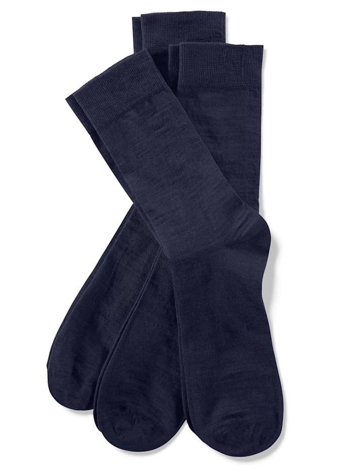 Weissbach Sokken met handgekettelde teen 3 stuks, marine