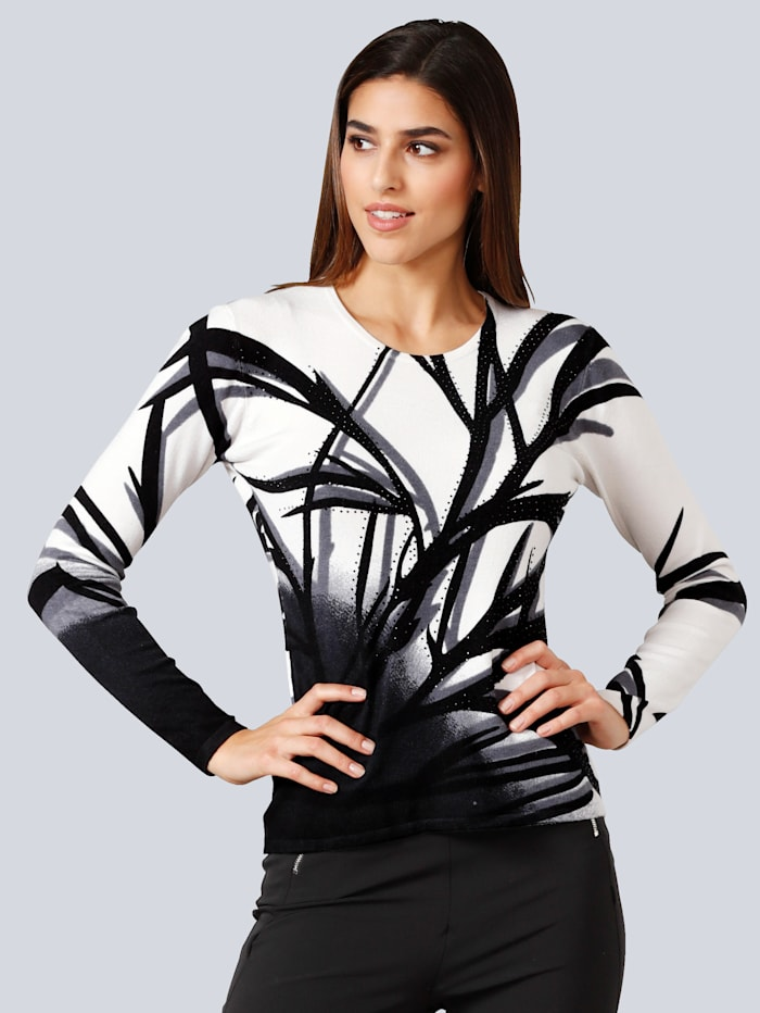 Alba Moda Pullover mit Strass, Weiß/Schwarz