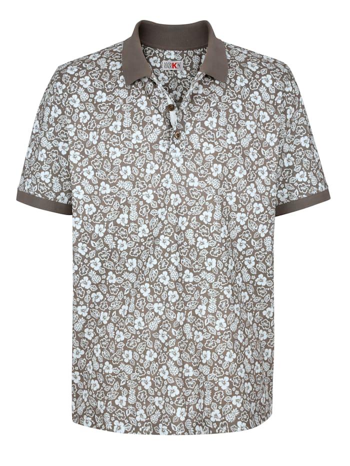 Roger Kent Poloshirt mit Blumendruck rundum, Taupe/Ecru