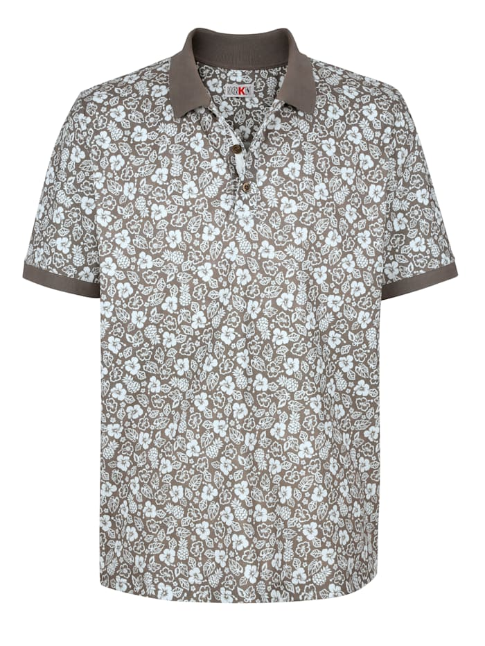 Roger Kent Poloshirt met bloemendessin rondom, Taupe/Ecru
