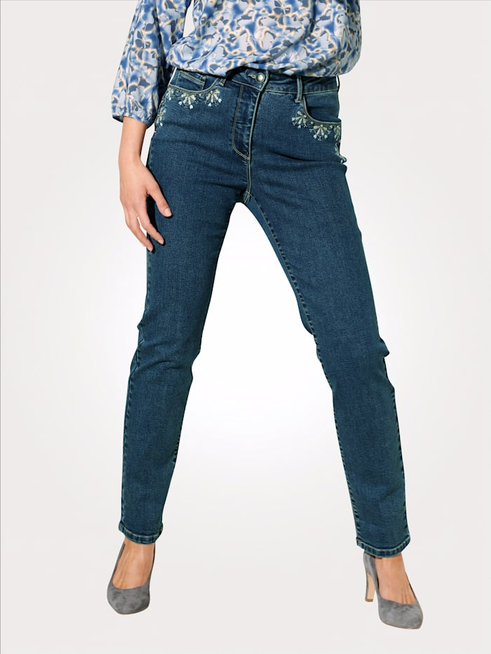 MONA Jeans mit dekorativen Tascheneingriffen, Hellblau/Gelb