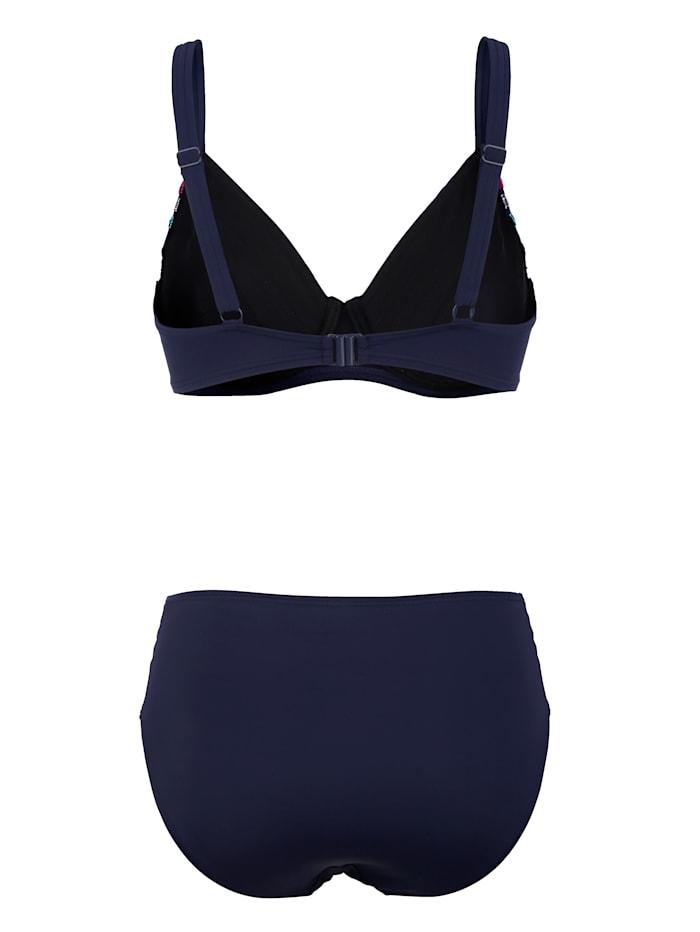 Bikini mit bunter Streifenapplikation